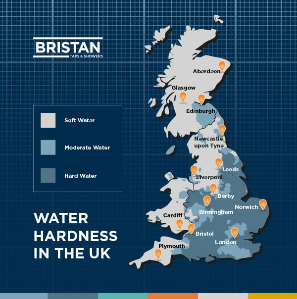 Map Of England Showing Cornwall.Hard Water Map