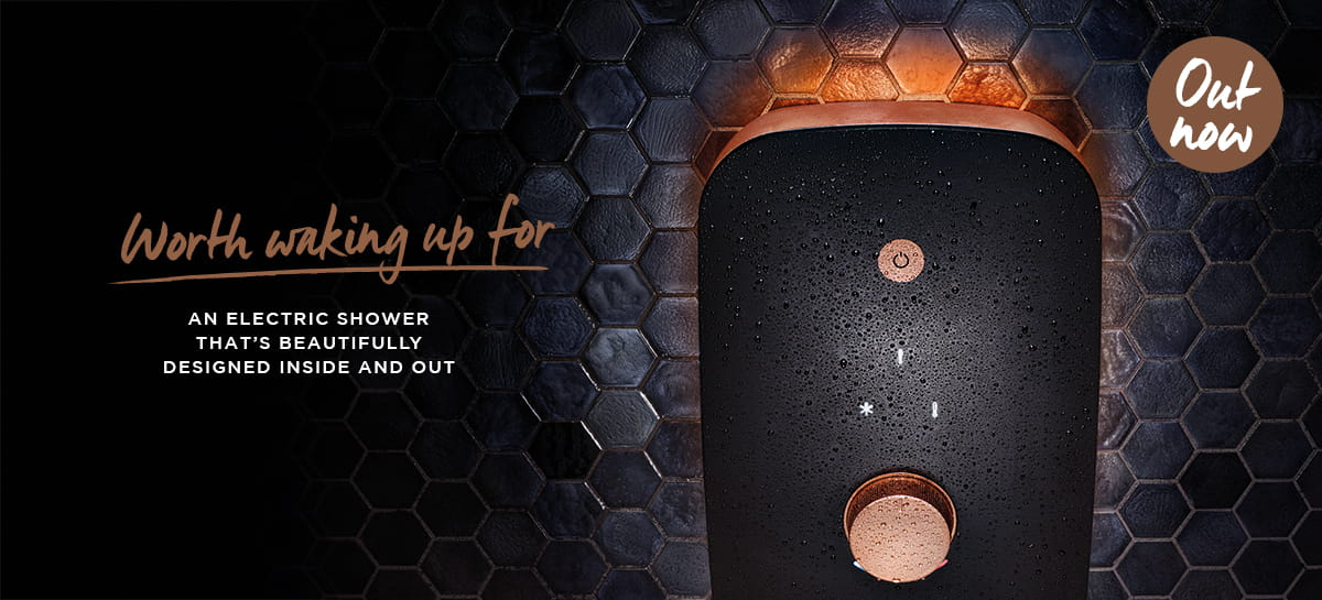 New black and rose gold electric shower from Bristan