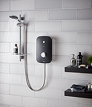 Noctis black and chrome electric shower