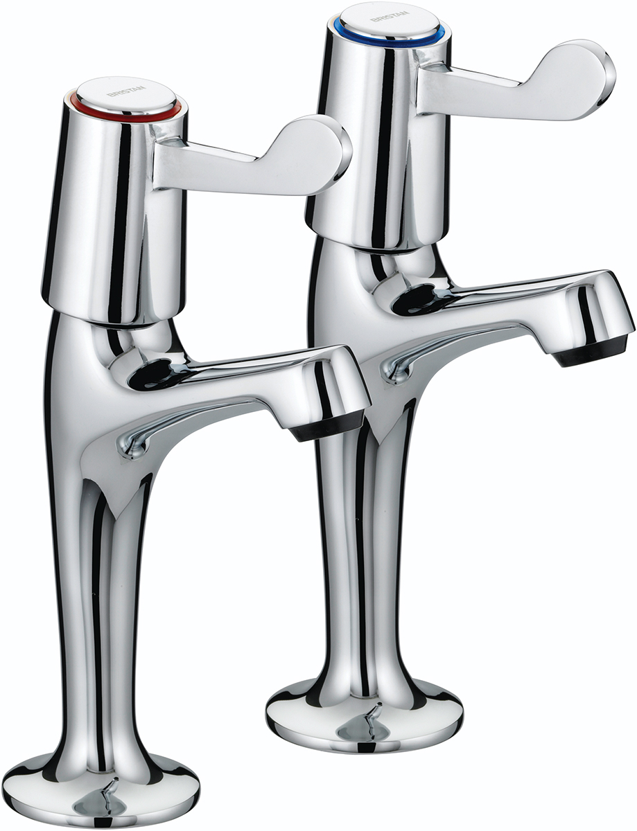 """High Neck Pillar Taps with 3"""" (76mm) Levers"""