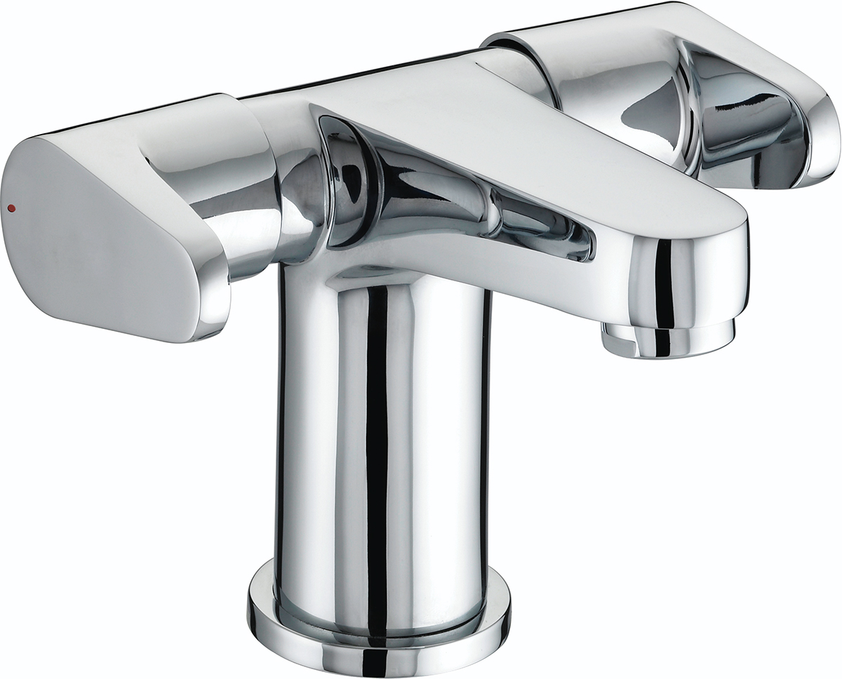 Two Handled Basin Mixer with Clicker Waste