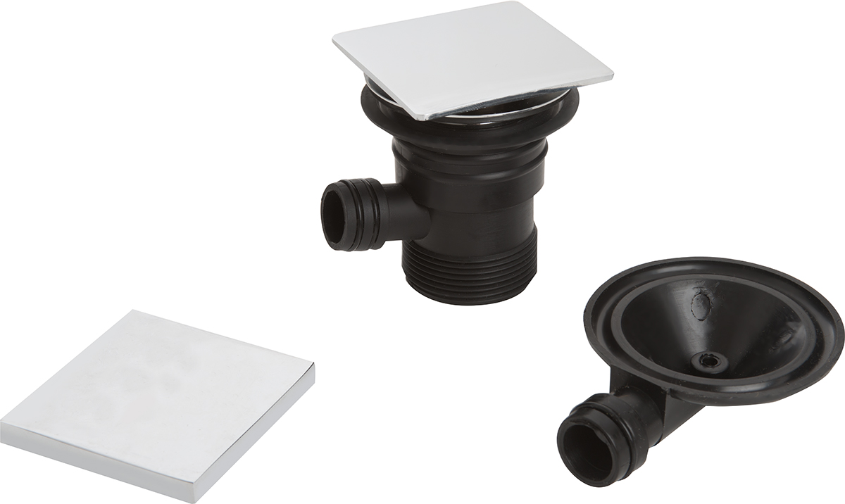 Square Clicker Bath Waste with Overflow