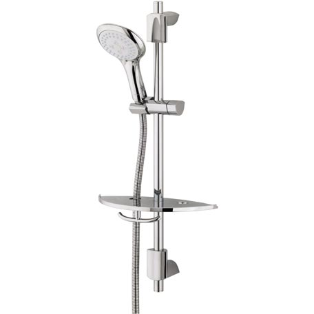 Shower Kit with 3 Function Rub Clean Handset and Shelf