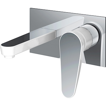 Wall Mounted Basin Mixer - White & Chrome