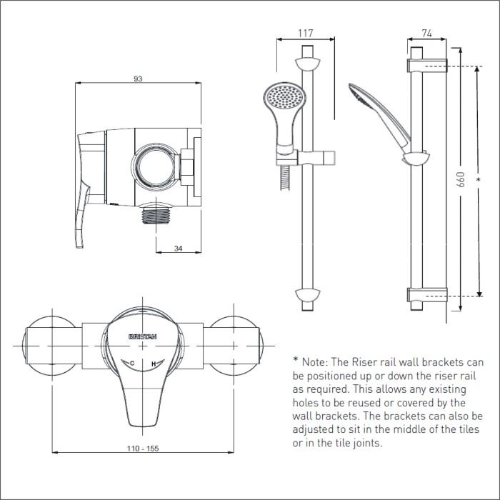 shower riser rail fitting instructions