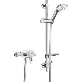 Exposed Dual Control Shower with Adjustable Riser