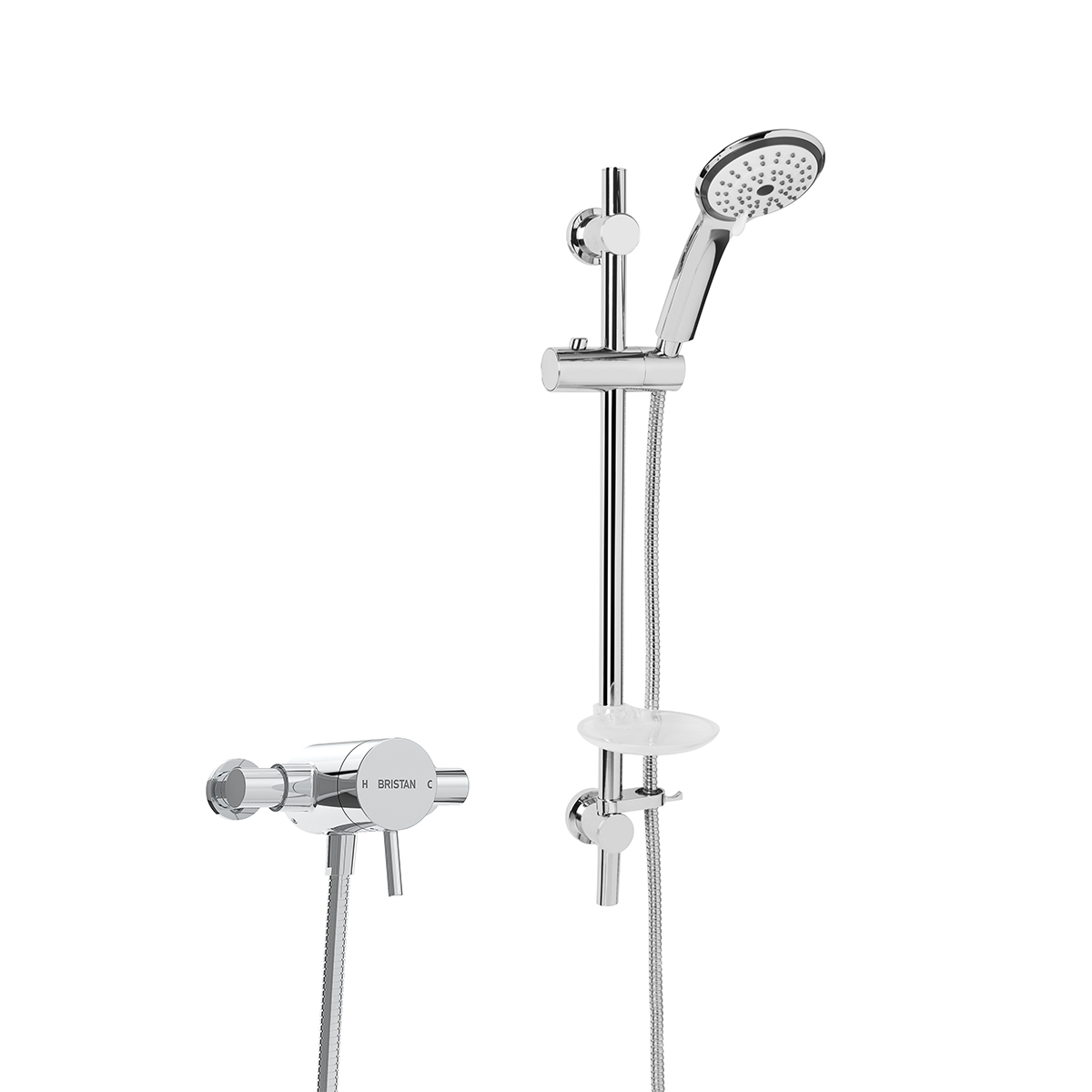 Exposed Single Control Shower with Adjustable Riser