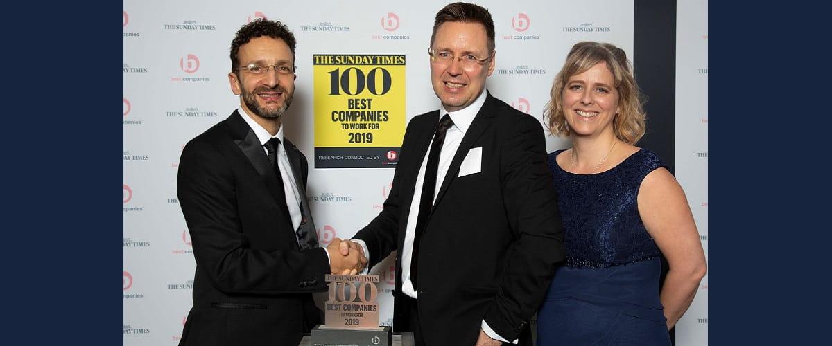 An image of Darius our CEO winning an award on behalf of Bristan