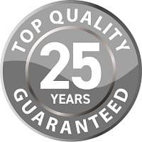 25 year guarantee logo