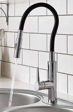 The flexible kitchen tap from Bristan. Bends into any shape and stays there, creating the perfect hands free assistant in the kitchen.