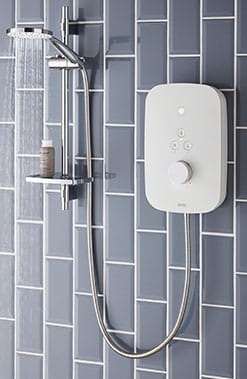 Sleek white and chrome electric shower from Bristan