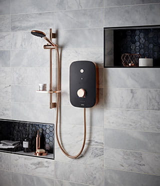 Noctis black and rose gold electric shower