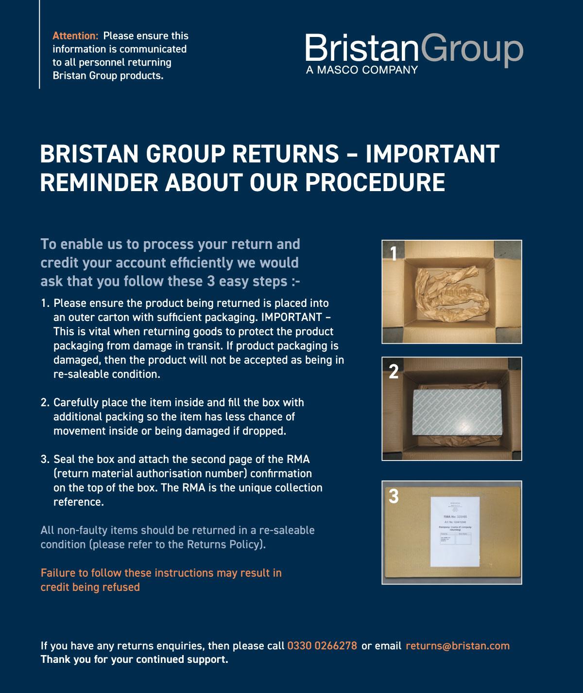 Bristan return procedure