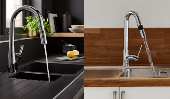Photography of A Bristan Gallery Smart Measure Kitchen Tap and A Gallery Flex Kitchen Tap