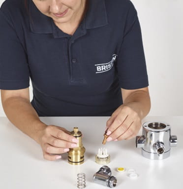 Remove control headgear clean replace thermostatic cartridges